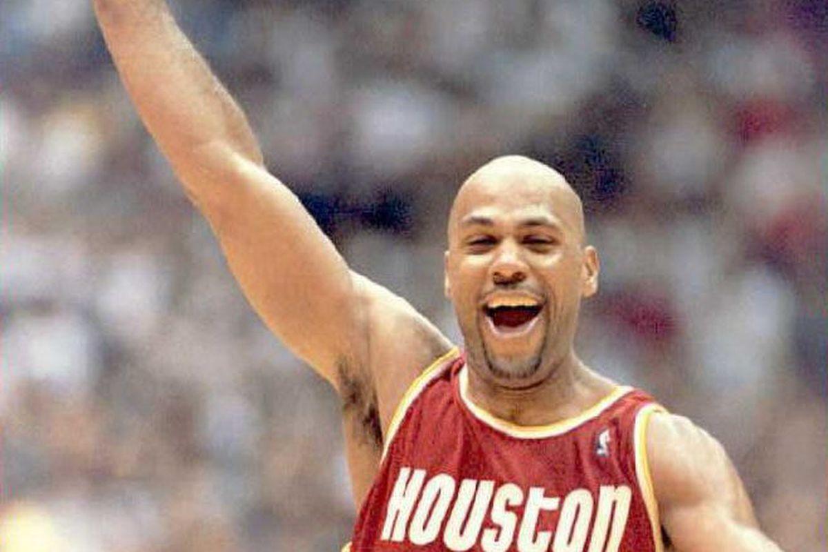 Mario Elie of the Houston Rockets celebrates 22 Ma