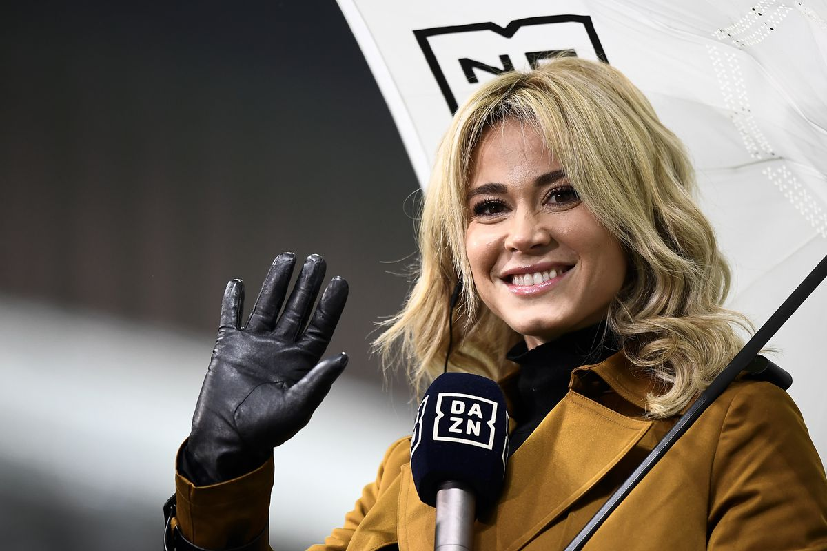 Diletta Leotta, anchor of DAZN broadcasts, gestures prior to...