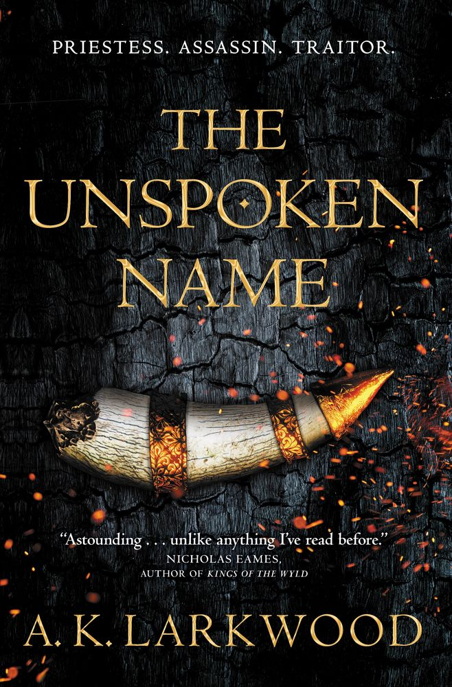 A burning horn on the cover of The Unspoken Name by A.K. Larkwood
