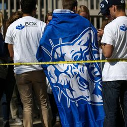 Brigham Young Cougars fans line up before the game against the Wisconsin Badgers at LaVell Edwards Stadium in Provo on Saturday, Sept. 16, 2017.