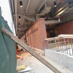 The extension of the left field bleacher wall under construction