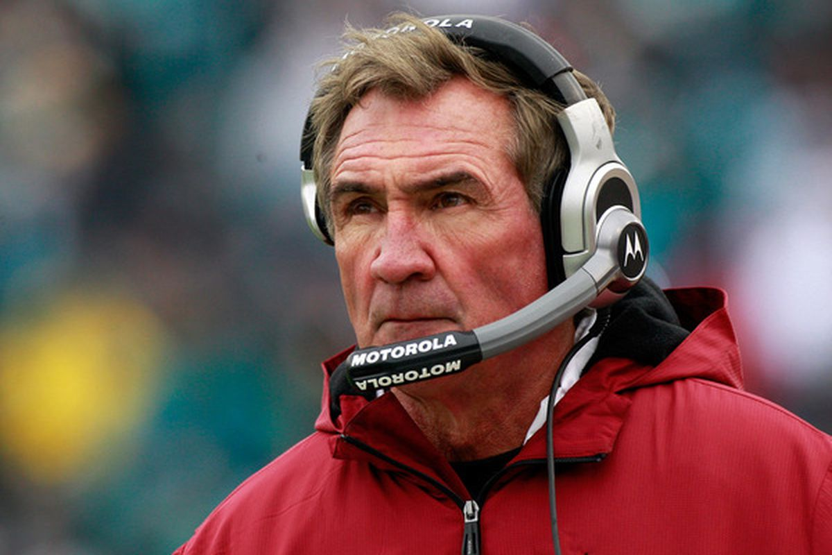 Coach Mike Shanahan of the Washington Redskins watches the action during the game against the Jacksonville Jaguars at EverBank Field on December 26 2010 in Jacksonville Florida.  (Photo by Sam Greenwood/Getty Images)