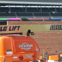 Third-base line upper-deck ribbon board being tested -