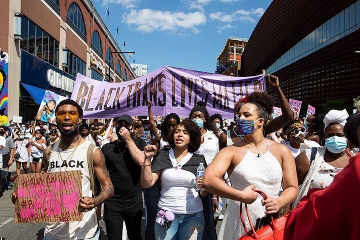 Layleen Polanco's sister, Melania Brown, takes part in a Brooklyn march for Black trans lives, June 14, 2020.