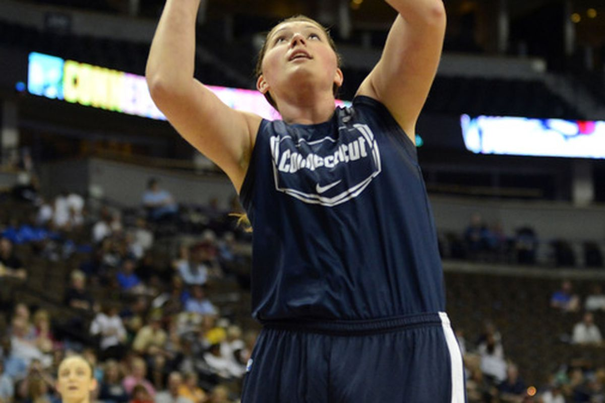 March 31, 2012; Denver, CO, USA; Connecticut Huskies center Stefanie Dolson (31) practices the day before the semifinals of the 2012 NCAA women's basketball Final Four at the Pepsi Center.<em> Ron Chenoy-US PRESSWIRE</em>