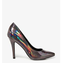 """<b>Forever 21</b> Pointed Hologram Pumps in gunmetal, <a href=""""http://www.forever21.com/Product/Product.aspx?BR=f21&Category=Promo_Shoe-collection-hologram&ProductID=2021063215&VariantID=052#"""">$24.80</a>"""