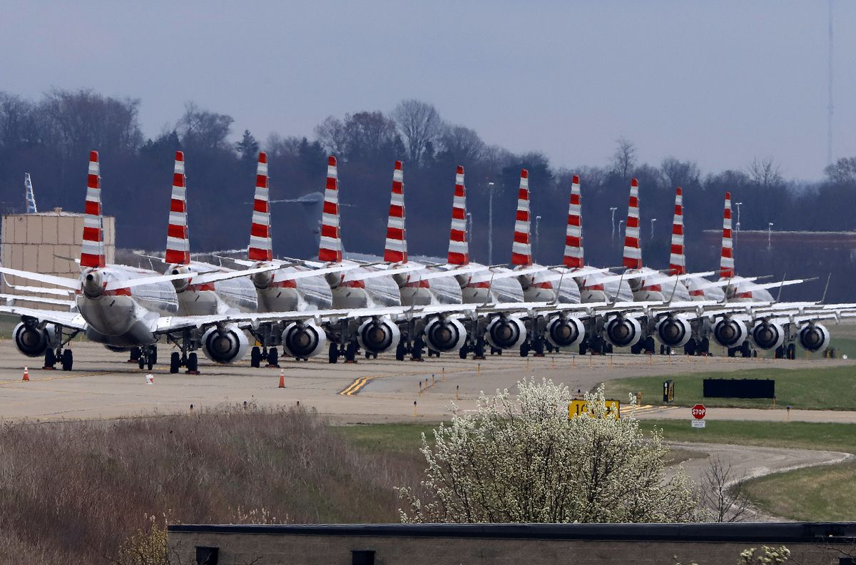 American Airlines planes sit idle on a closed taxiway at Pittsburgh International Airport on March 31.
