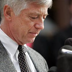 Salt Lake City Mayor Rocky Anderson pauses for a moment while speaking at a press conference Tuesday in Salt Lake City, just hours after a gunman entered the Trolley Square mall and fatally shot 5 patrons Monday evening.