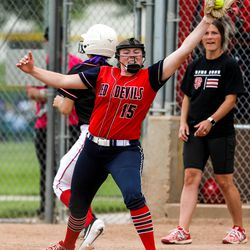 Springville's McKenna Thomas (15) catches the ball during the 5A softball quarterfinals game against Spanish Fork at Spanish Fork Sports Park in Spanish Fork on Tuesday, May 25, 2021.