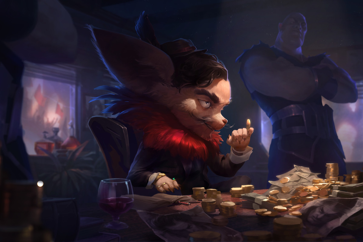 A Yordle sits at a table full of gold and money