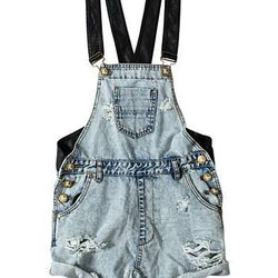 One Teaspoon Destroyed Overall With Leather Straps, $139