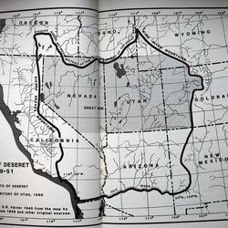 """A map of Deseret from Dale L. Morgan's book, """"The State of Deseret,"""" first published in 1940 and republished in 1987 by Utah State University and the Utah State Historical Society."""
