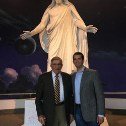 Ret. Gen. Robert C. Oaks and Donald Trump Jr. pose by the Christus statue on Temple Square in Salt Lake City in September 2016.