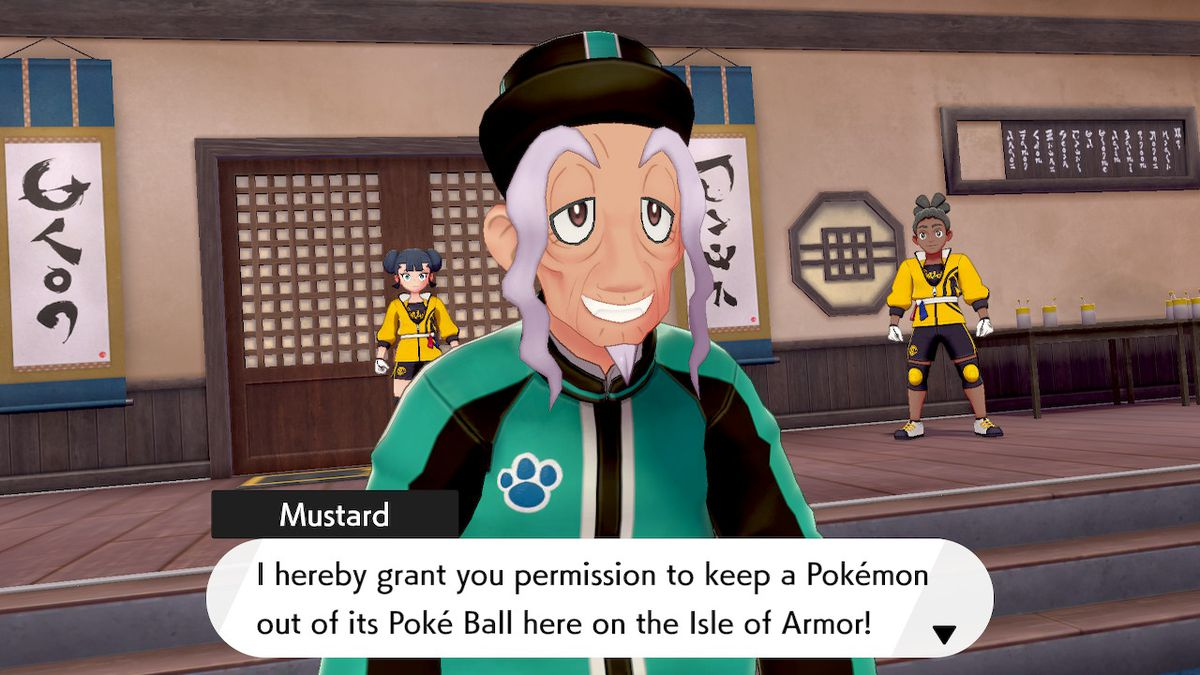 Mustard, the master of the dojo, grants a player the ability to walk around with a Pokémon