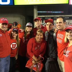 Members of the Covey family poses together after a Utah game.