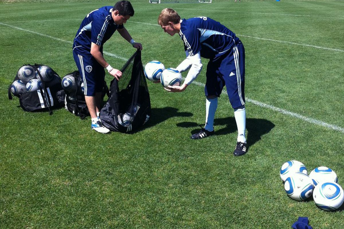 <strong>Sporting KC </strong>goalkeeper <strong>Jon Kempin</strong> - the star guest on The Daily Wiz's podcast one second, post-practice rookie ball shagger the next. Such is the life of an 18-year old professional.