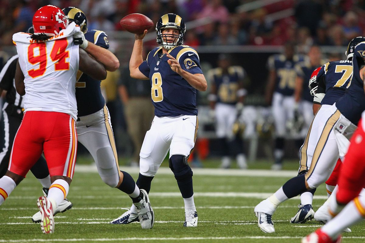 ST. LOUIS, MO - AUGUST 18: Sam Bradford #8 of the St. Louis Rams passes against the Kansas City Chiefs during a pre-season game at the Edward Jones Dome on August 18, 2012 in St. Louis, Missouri.  (Photo by Dilip Vishwanat/Getty Images)