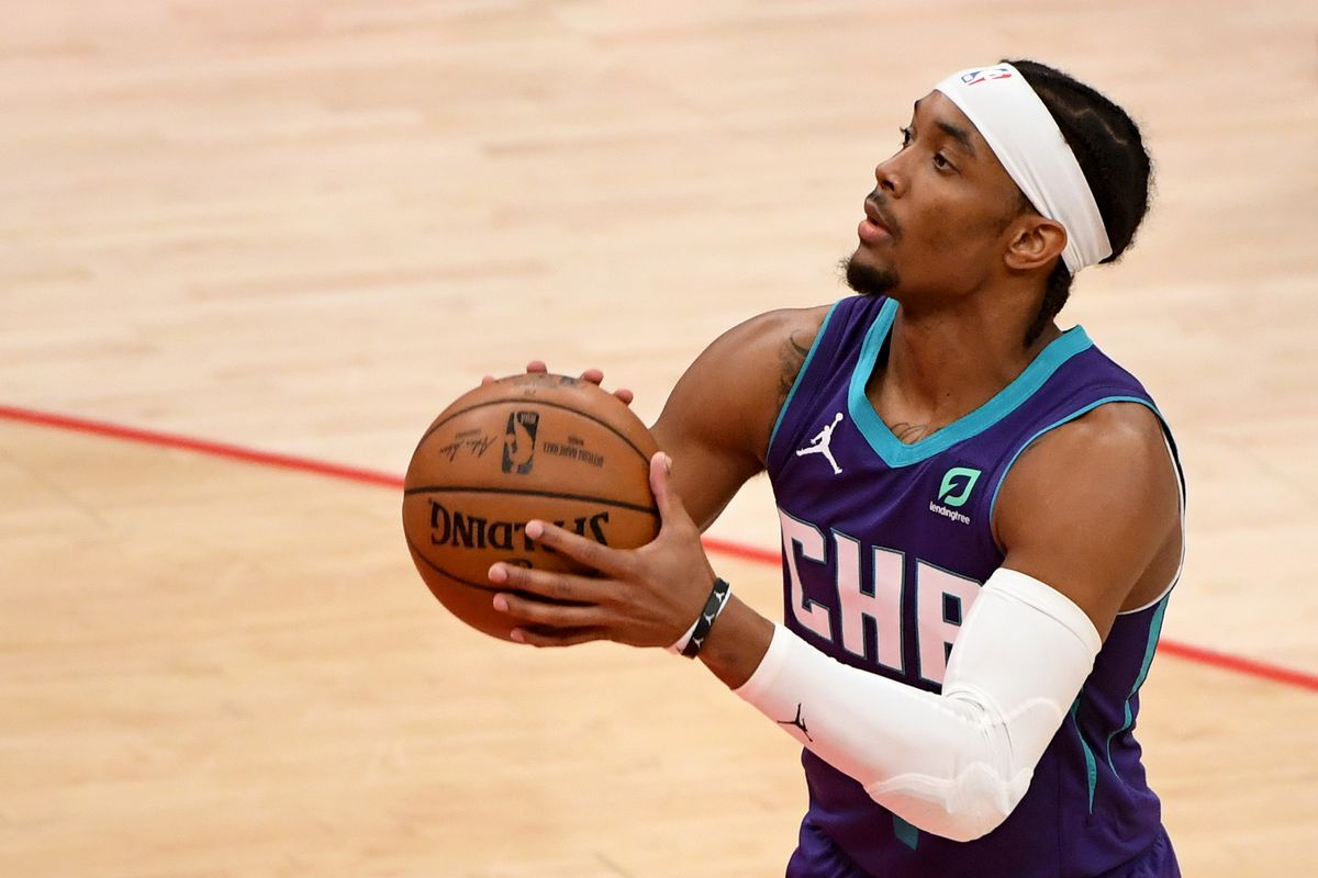 Devonte' Graham of the Charlotte Hornets shoots against the Washington Wizards during the second half at Capital One Arena on May 16, 2021 in Washington, DC.