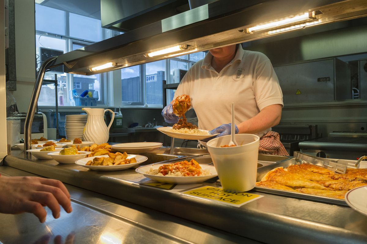 School dinners at a U.K. school, which could be affected by a no deal Brexit