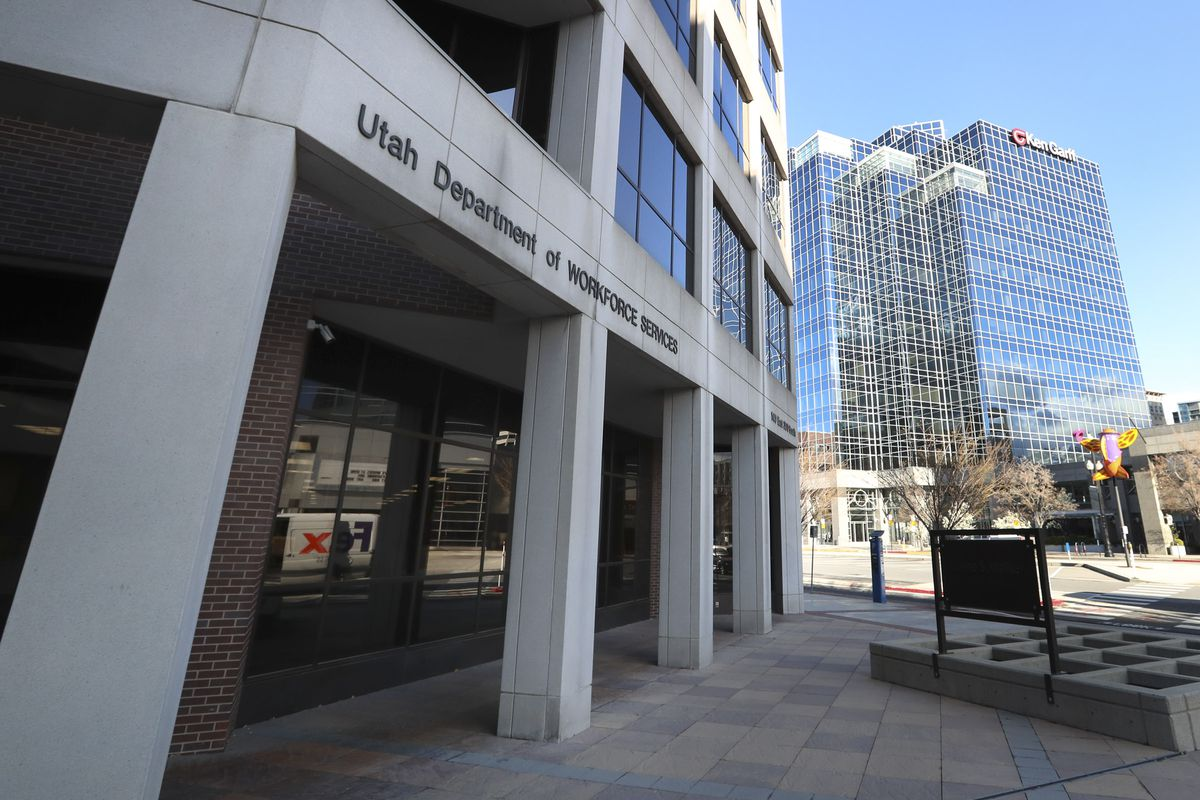 The Utah Department of Workforce Services building in Salt Lake City is pictured on Thursday, April 2, 2020.