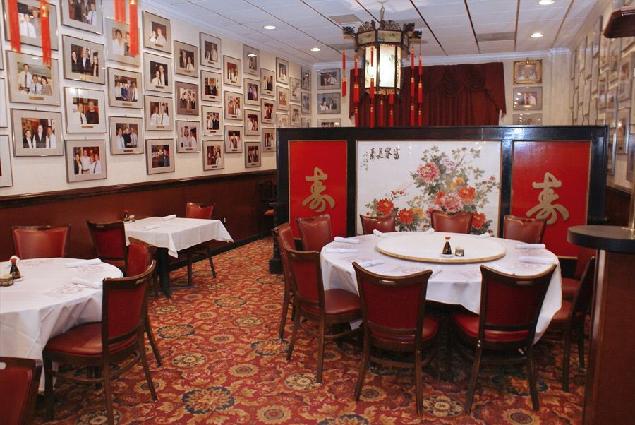 The empty dining room at the regal Peking Gourmet Inn in Falls Church