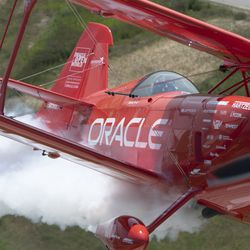 Sean Tucker flies over Gary Airport on media day for Chicago Air and Water Show. | Colin Boyle/Sun-Times