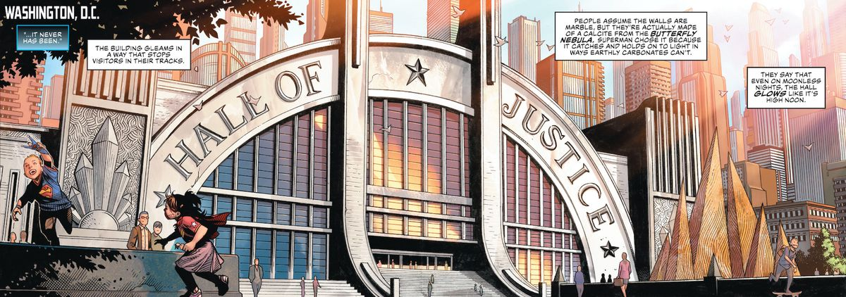 The Hall of Justice in Justice League #1, DC Comics (2018).