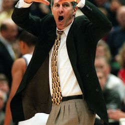 Jerry Sloan reacts after the refs missed a goal-tending call.