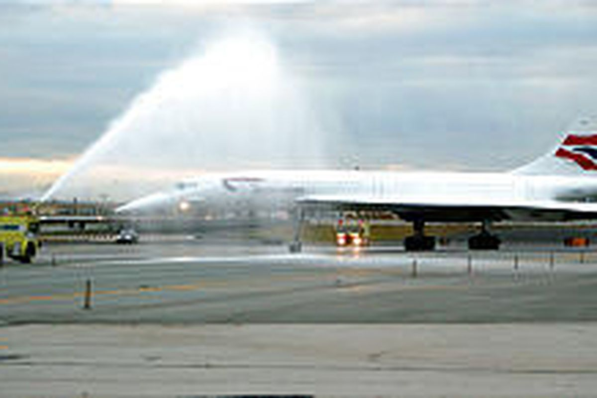 The last British Air Concorde flight to land at New York's John F. Kennedy Airport completes its landing. Concorde's last flight from JFK will leave for London today. British Air is retiring the supersonic aircraft.