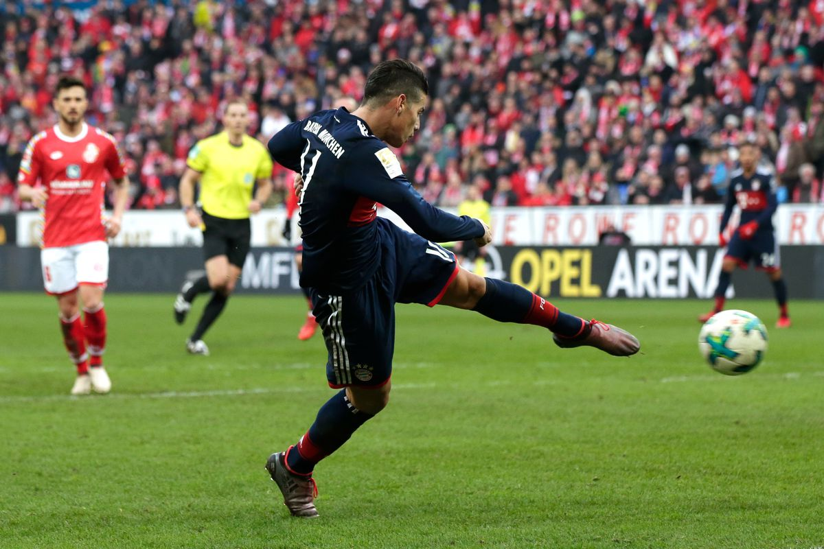 James Rodriguez of Bayern Munchen scores the second goal to make it 0-2 during the German Bundesliga match between FSV Mainz v Bayern Munchen at the Opel Arena on February 3, 2018 in Mainz Germany.