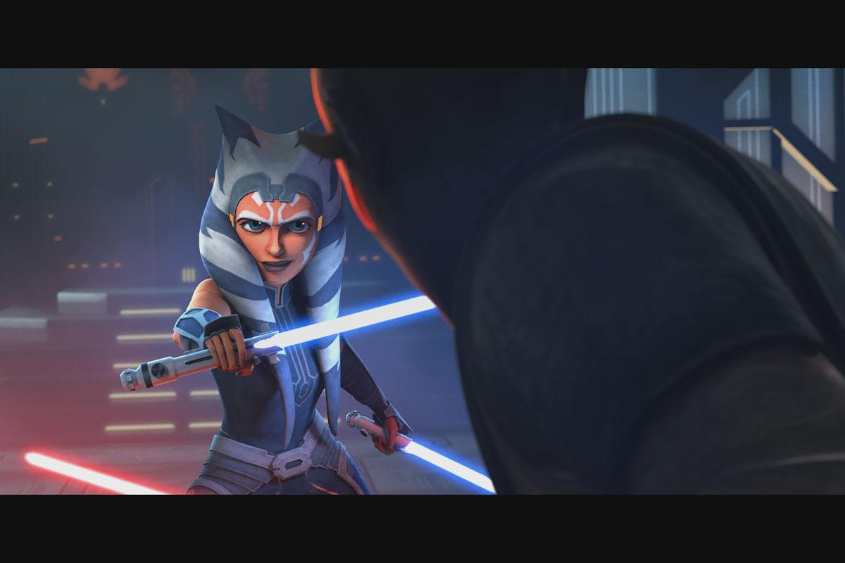 """Ahsoka Tano and Maul in """"Star Wars: The Clone Wars,"""" exclusively on Disney Plus."""