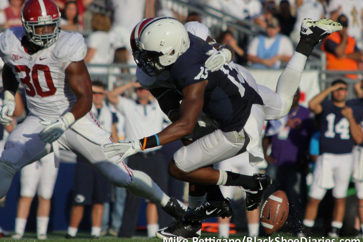 Justin Brown drops a 3rd down pass during Penn State's 27-11 loss to Alabama. (Photo: BSD)