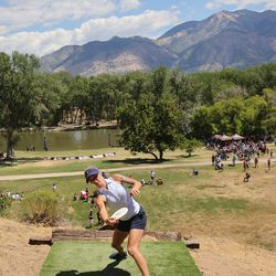 Catrina Allen competes during the Professional Disc Golf World Championships at Fort Buenaventura Park in Ogden on Saturday, June 26, 2021. Allen won the championship.