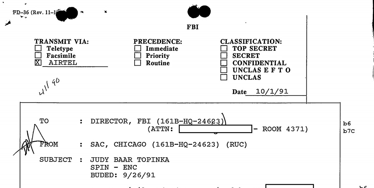 Judy Baar Topinka had been interviewed by the FBI several times in the 1970s and 1980s, according to her FBI file.
