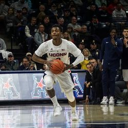 The UMass Lowell River Hawks take on the UConn Huskies in a men's college basketball game at Gampel Pavilion in Storrs, CT on November 27, 2018
