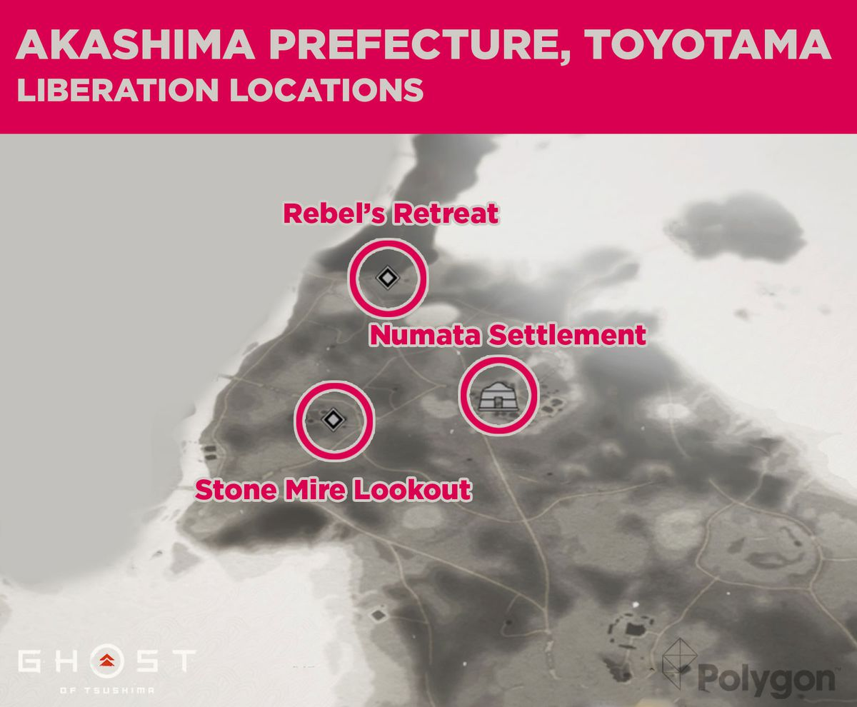 Akashima liberation locations in Ghost of Tsushima including: Stone Mire Lookout, Numata Settlement, and Rebel's Retreat.