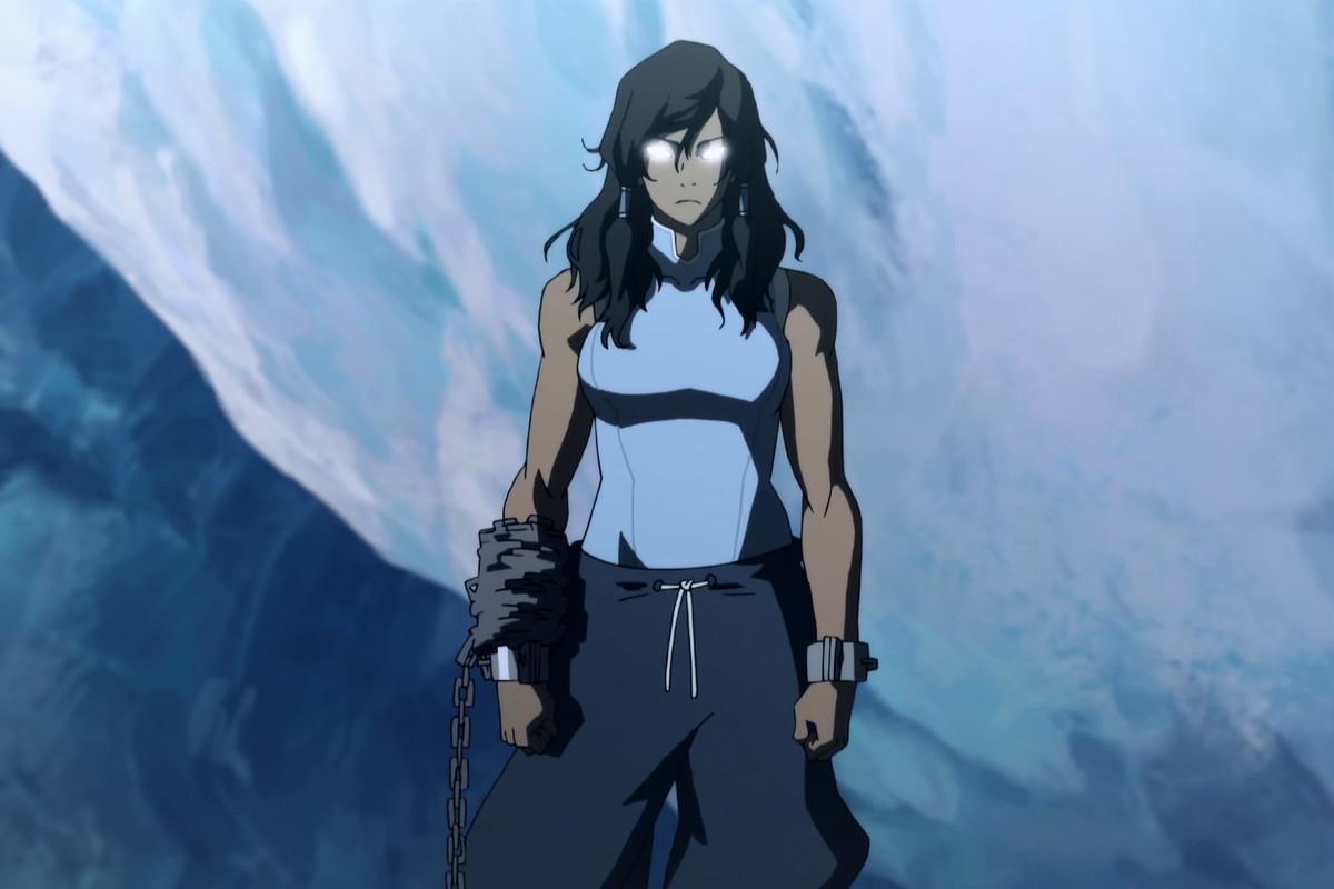 korra in the avatar state in season 2 of legend of korra