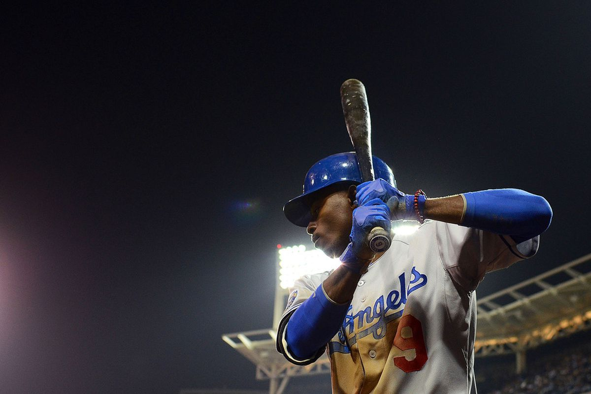 This is the photo that Dee Gordon's family will hang on the wall to remind them of this series and how much of an unstoppable force this guy was to start the 2012 season.