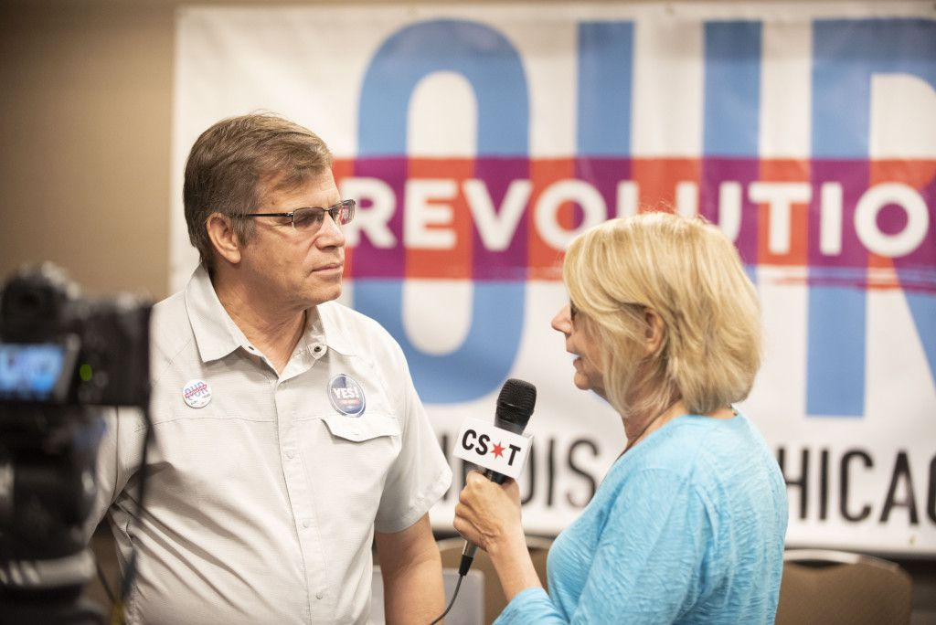Clem Balanoff, Our Revolution Illinois chair, speaks with Sun-Times Washington Bureau Chief Lynn Sweet at the Democratic National Committee summer meeting in Chicago on August 24, 2018. | Colin Boyle/Sun-Times