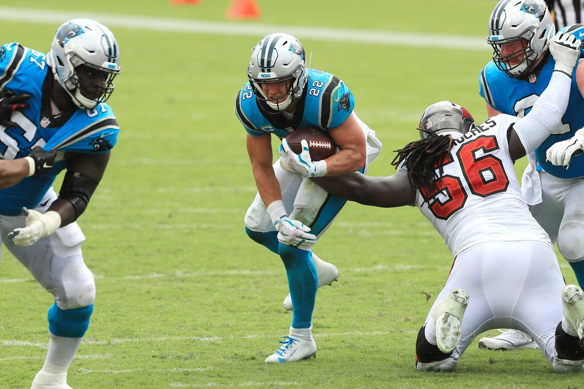 Christian McCaffrey of the Carolina Panthers runs with the ball during the second half against the Tampa Bay Buccaneers at Raymond James Stadium on September 20, 2020 in Tampa, Florida.