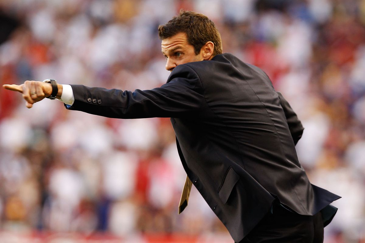 HARRISON, NJ - JULY 09:  Head Coach Ben Olsen of D.C. United directs from the bench during the game against the New York Red Bulls on July 9, 2011 at Red Bull Arena in Harrison, New Jersey.  (Photo by Mike Stobe/Getty Images for New York Red Bulls)