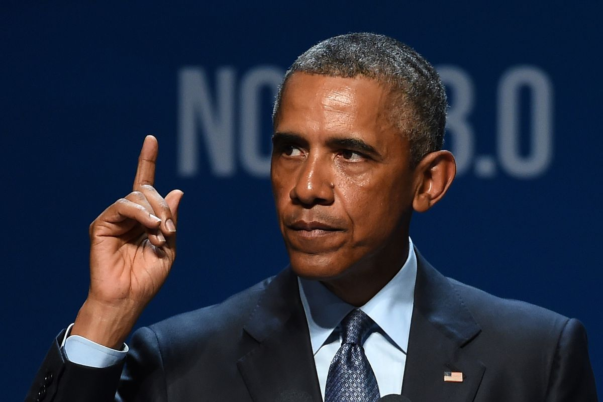 LAS VEGAS, NV - AUGUST 24: U.S. President Barack Obama delivers the keynote address at the National Clean Energy Summit 8.0 at the Mandalay Bay Convention Center on August 24, 2015 in Las Vegas, Nevada. Political and economic leaders are attending the sum
