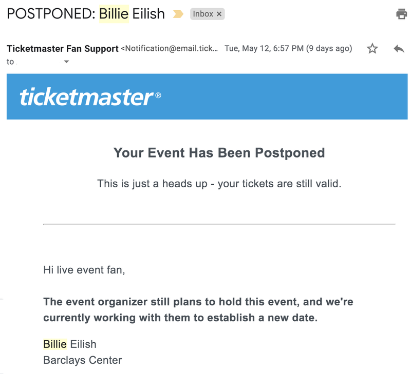 Screenshot of an email from Ticketmaster