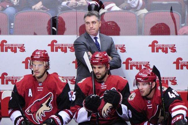 Dave Tippett and the Arizona Coyotes are in rebuilding mode. (Courtesy of Matt Kartozian/USA Today Sports)