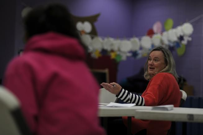 Carla Farris speaks about opting her daughter out of standardized testing in Douglas County last year (Photo by AAron Ontiveroz/The Denver Post).