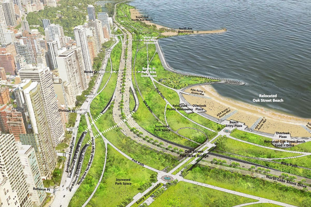 A Rendering Of An Improved Oak Street Curve With Lake S Drive Pushed Eastward To Create New Green E And Recreational Paths City Chicago Via