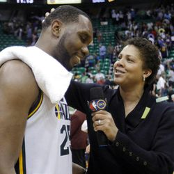 Utah Jazz center Al Jefferson (25) is interviewed by TNT's Cheryl Miller after the Jazz defeated the Phoenix Suns play Tuesday, April 24, 2012 in Energy Solutions arena 100-88.