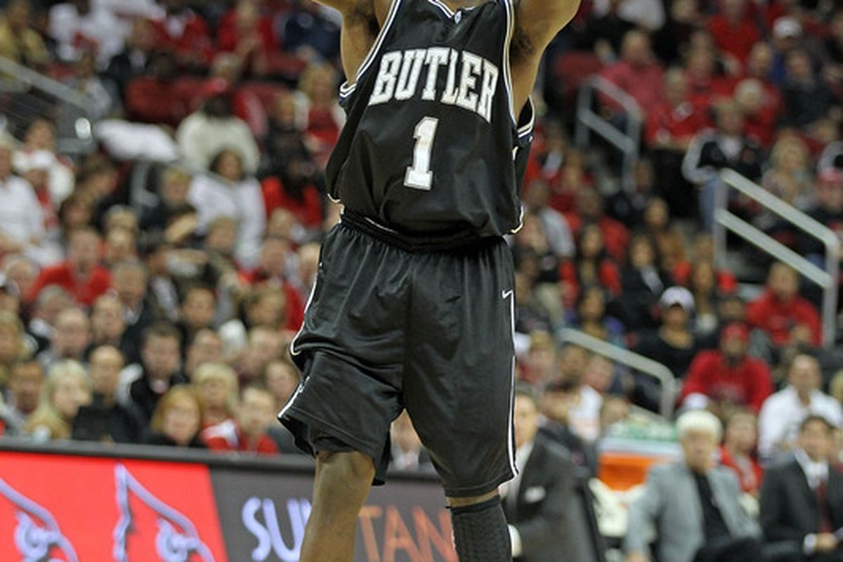 LOUISVILLE KY - NOVEMBER 16:  Shelvin Mack #1  of the Butler Bulldogs shoots the ball during the game against the Louisville Cardinals at the KFC Yum! Center on November 16 2010 in Louisville Kentucky.  (Photo by Andy Lyons/Getty Images)