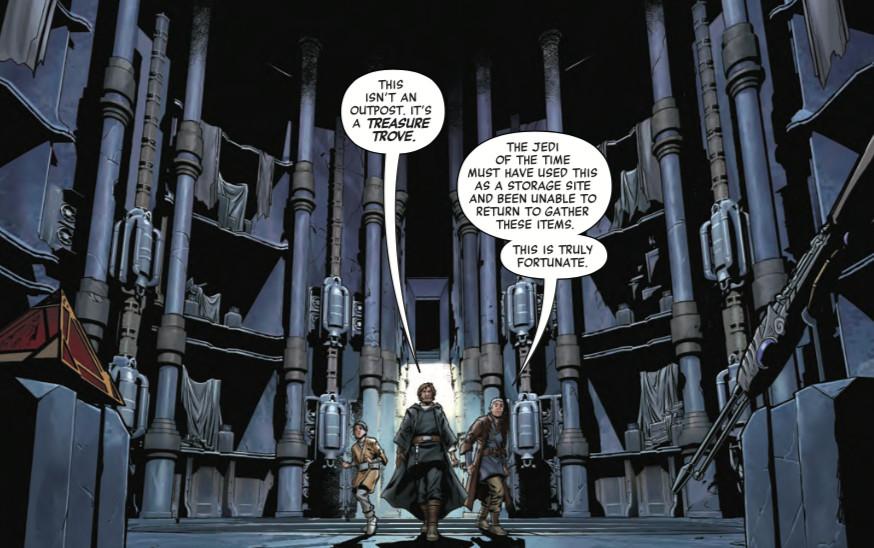 luke skywalker, ben solo, and Lor San Tekka discover a jedi outpost full of stuff