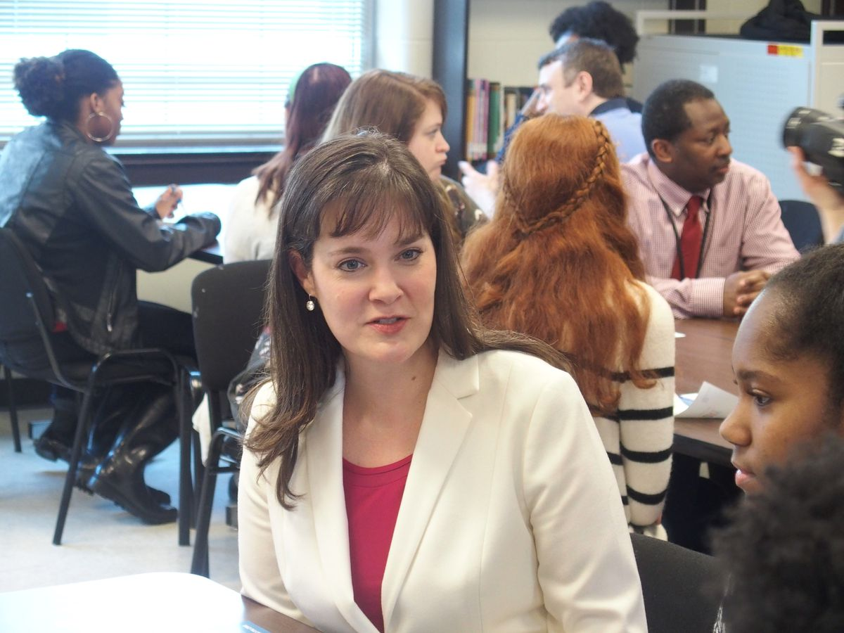Education Commissioner Candice McQueen visits Middle College High School in Memphis as part of her statewide tour of schools.